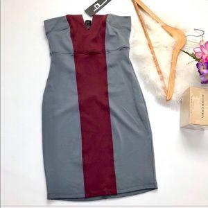 NWT David Lerner gray red strapless mini dress S